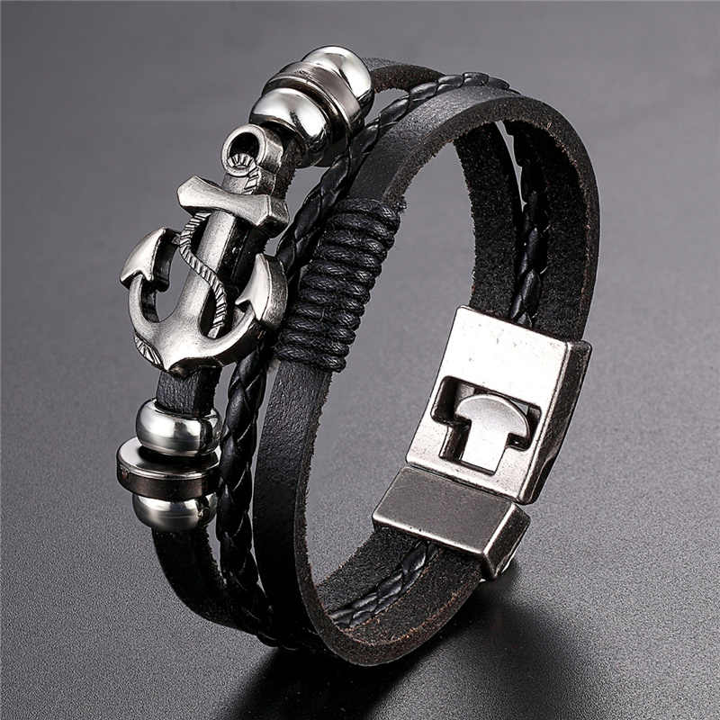 2019 Newest Design High Quality Multi-layer Leather Bracelets Charm Men Anchor Bracelet Jewelry Party Fine Gift Male Pulseira