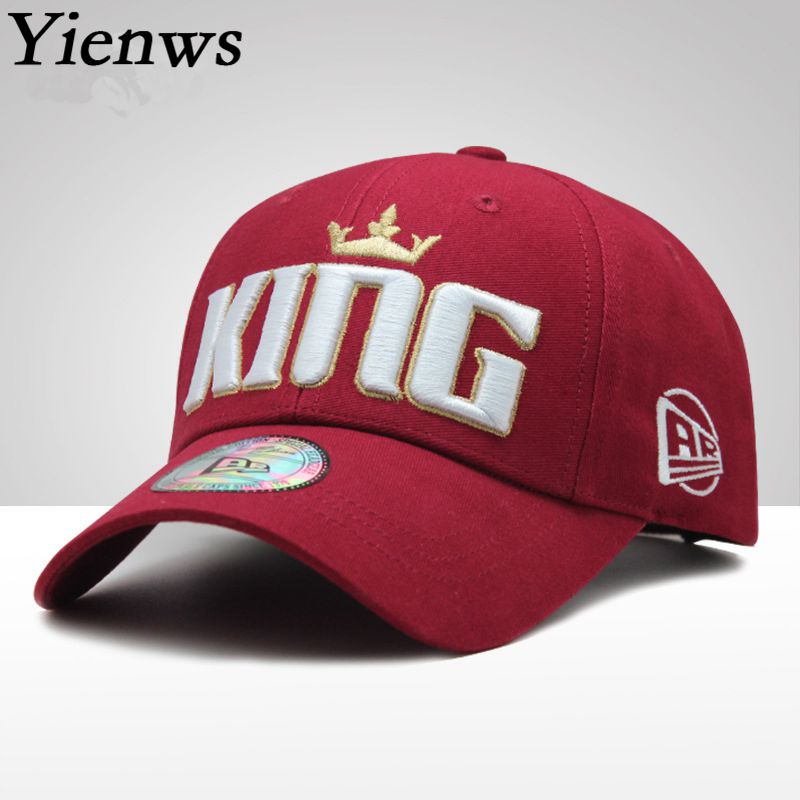 Yienws Embroidery Bones Baseball Caps for Women Men KING Leisure Summer Sun Hats Cotton Youth Cap Casquette Homme YIC610