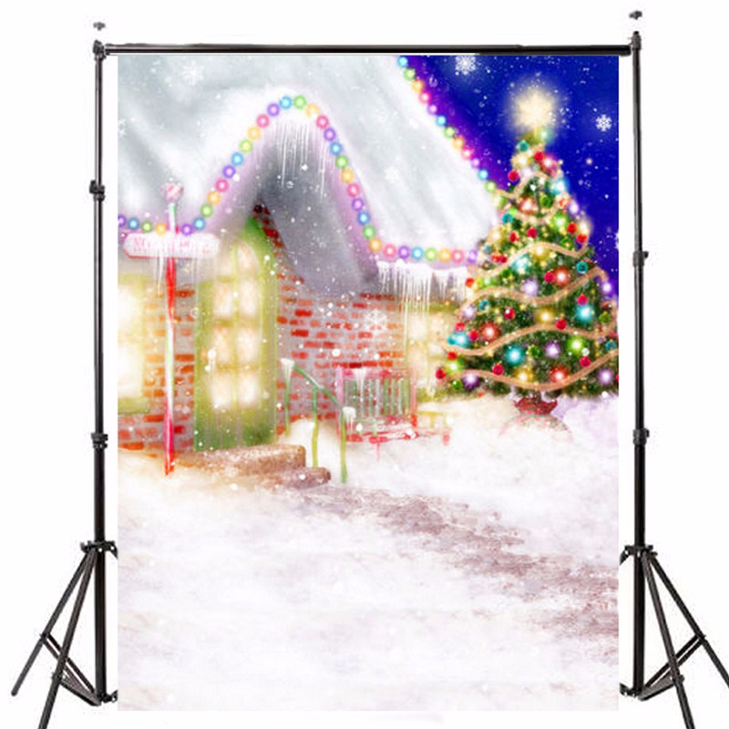 5x7ft snow Photography Background Vinyl Fabric Christmas House Tree photographic Backdrop for Studio Photo Prop 1.5x2.1m New