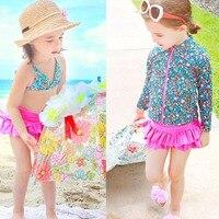 2016 الجديدة الفتيات الطفل الاطفال الأطفال السباحة + تنورة + قبعة أنماط الأزهار أزياء بيكيني مايوهات بحر الساخن