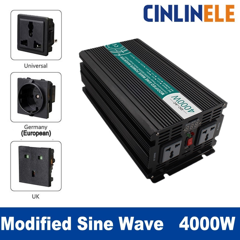 Smart Modified Sine Wave Inverter 4000W CLM4000A DC 12V 24V 48V to AC 110V 220V 4000W Surge Power 8000W Power Inverter 12V 110V 1pcs lot sh b17 50w 220v to 110v 110v to 220v