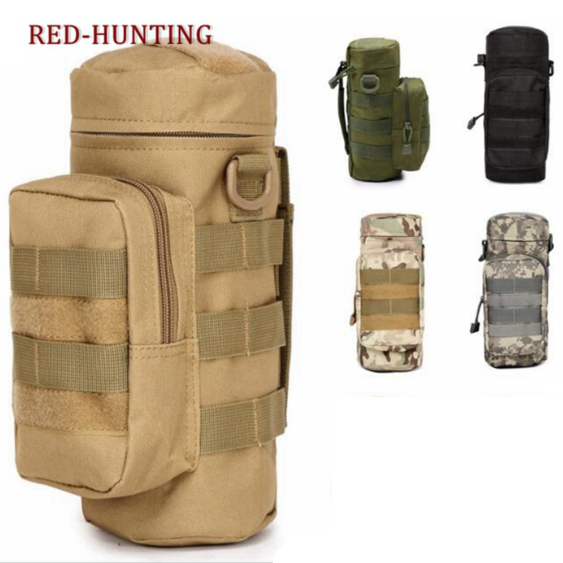 Tactical Molle Zipper Camo Water Bottle Pouches Small Mess Pouch Nylon Waterproof Waist Bag Outdoor Travel Sports Bottle Pouch