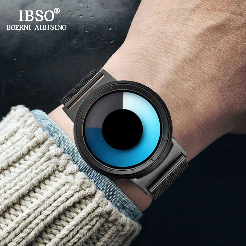 IBSO Creative Quartz Watch Men Luxury Silver Stainless Steel Mens Watches Rotate Time Clock Luminous Relogio Masculino 2018 ibso creative men watches 2018 top brand luxury stainless steel wristwatch mens quartz watch male clock relogio masculino