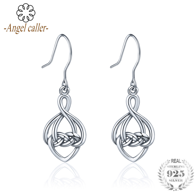 7632d0f09 Angel Caller 925 Sterling Silver Celtics Knot Dangle Earrings for Women Fine  Jewelry Elegant Silver Drop Earrings CYE035