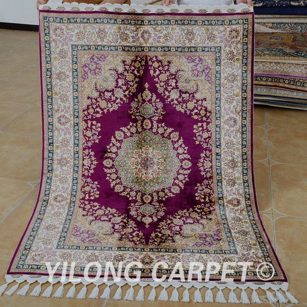 Tapis de soie Yilong 3.5 'x5' Tabriz rouge violet fait à la main exquis tapis de soie turque (1754)