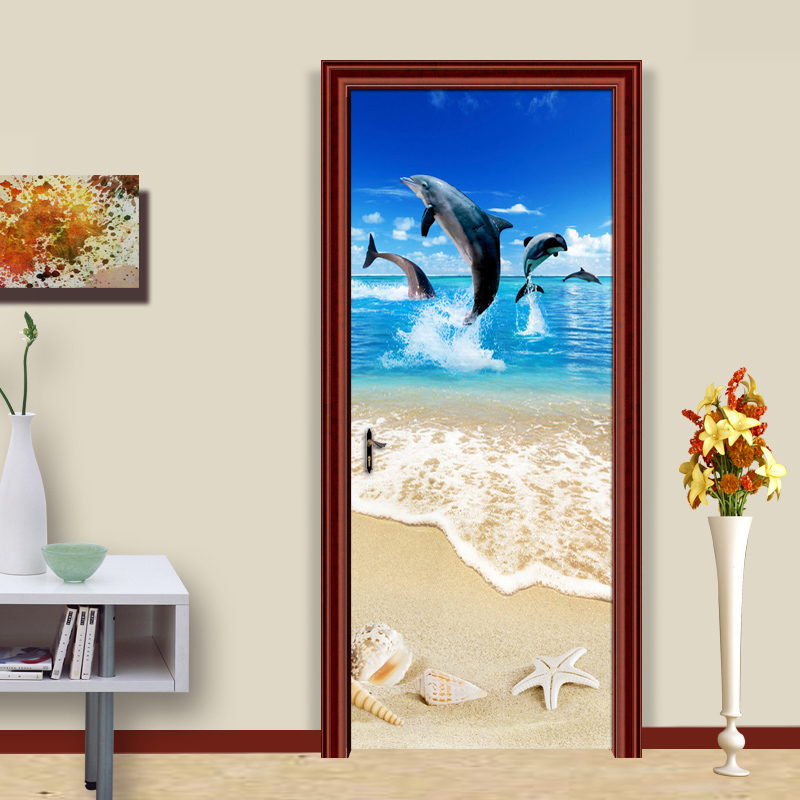 Sandy Beach Shell Starfish Dolphin 3D Poster Mural Wallpaper For Living Room Bedroom Door Sticker Wall Paper PVC Self Adhesive