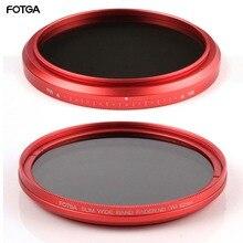 FOTGA 58mm ND filtres caméra mince Fader ND(W) rouge anneau filtre Variable réglable ND2 ND8 à ND400