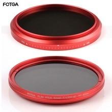 FOTGA 58mm filtros ND Cámara Fader fino ND(W) anillo rojo filtro Variable ajustable ND2 ND8 a ND400