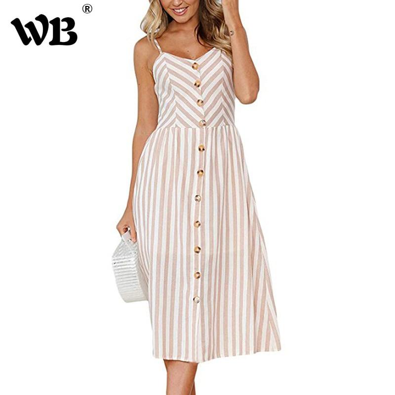 Fashion Stripes Button Sexy Casual Summer Strap Dress Long Boho Beach Desses Pockets Women Sundress Vestidos Elegant Dess Female