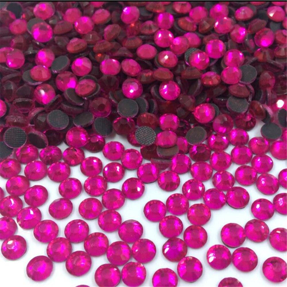 SS6 SS10 SS16 1440PCS Hot Pink Color DMC Crystal Rhinestones DIY Loose Glue HotFix Crystal Rhinestone For Garment Decoration