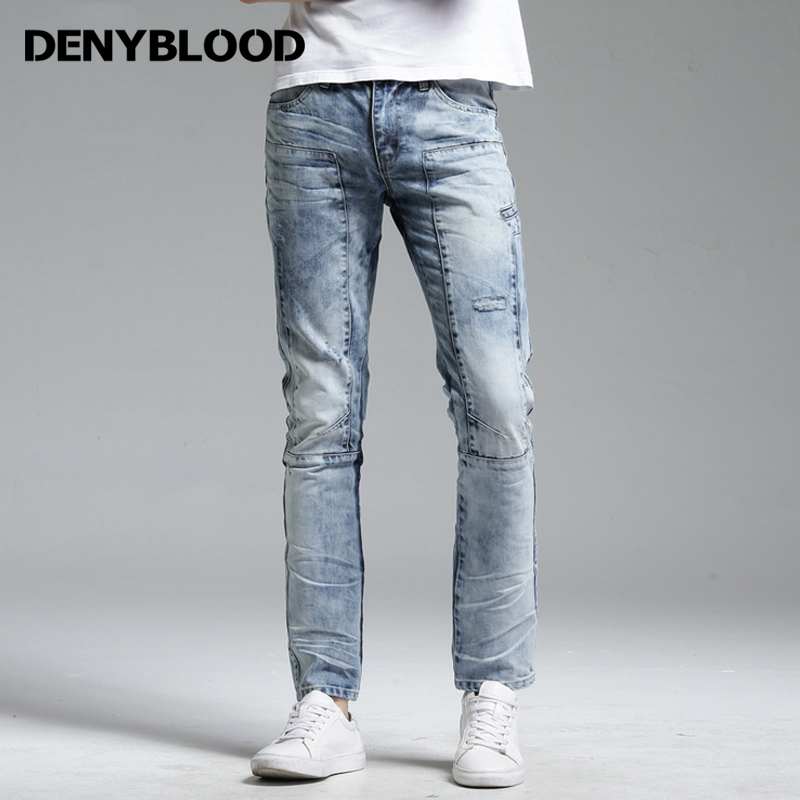 Denyblood Jeans Mens Slim Straight Multi Seam Jeans Bleach Wash Vintage Trousers Distressed Jeans Ripped Snow Wash Pants 172075