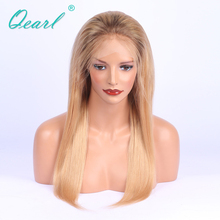 Ombre Blonde Remy Human Hair Wigs Dark Root Virgin Peruvian Hair With Baby Hair Pre-Plucked Human Hair Lace Front Wigs