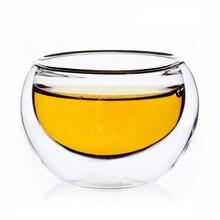 Кофейные кружки Стеклянная чашка кунгфу чайные чашки кофейные горшки барный инструмент прозрачная двойная лента настенный слой ручной работы