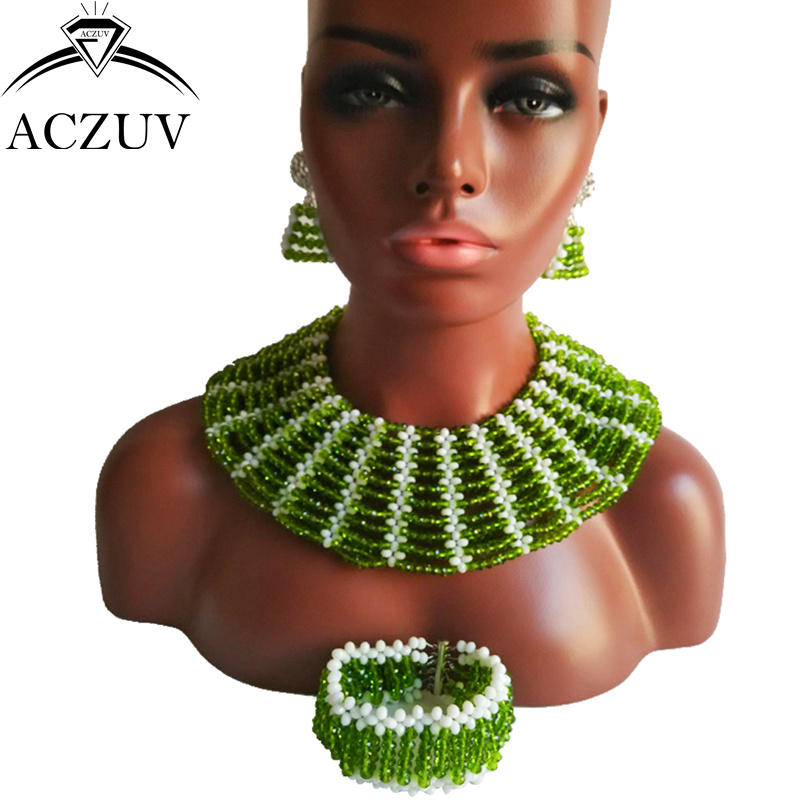 ACZUV Brand Olive Jewelry Sets Nigerian African Wedding Beads for Black Women AS025ACZUV Brand Olive Jewelry Sets Nigerian African Wedding Beads for Black Women AS025