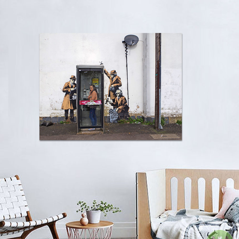 Unframed Canvas Prints Banksy Graffit Irony Monitor People Prints Wall Pictures For Living Room Wall Art Decoration