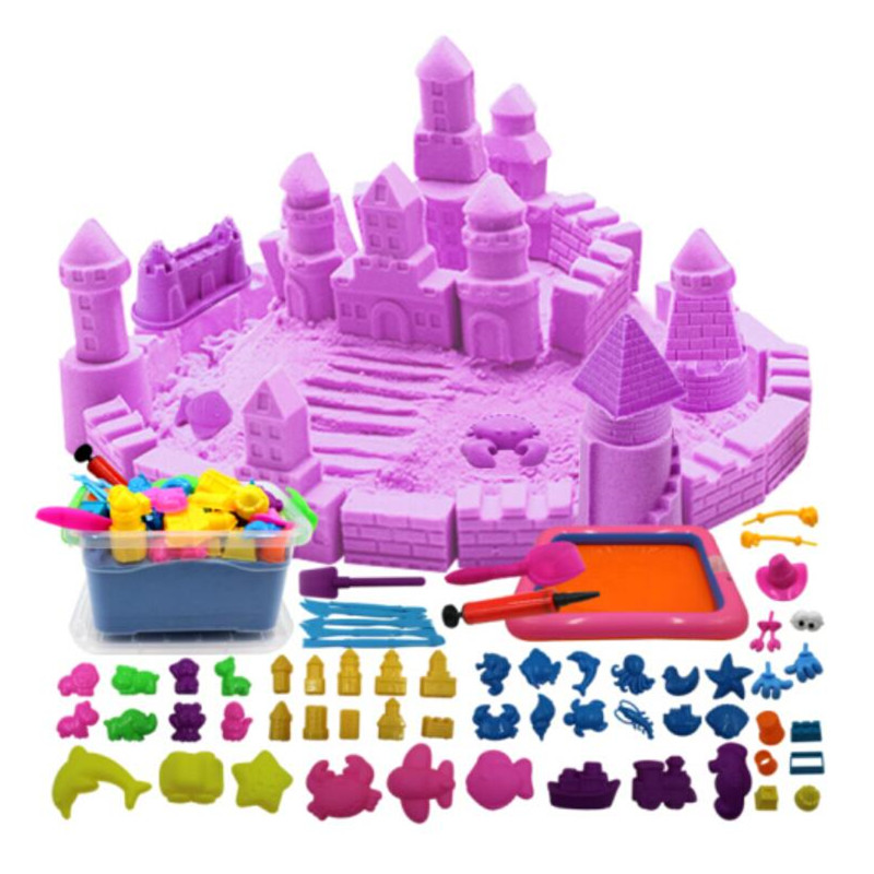Colorful Space Magic KineticLLY Sand Play Fun Little Toys Sculpts Castle Architecture Set 59 Pcs Molds Tool Kit Sensory Art