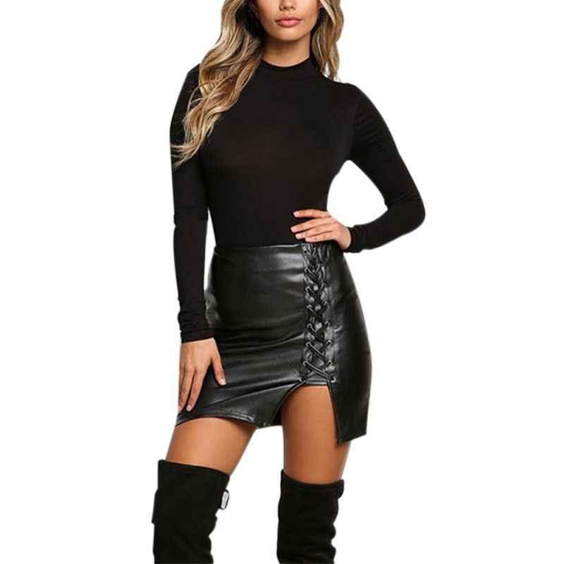 27d2687755aa ... New Pencil Skirt Women Black Bodycon Bandage Skirts Zipper Lace Up  Split Side Slit Party Club ...