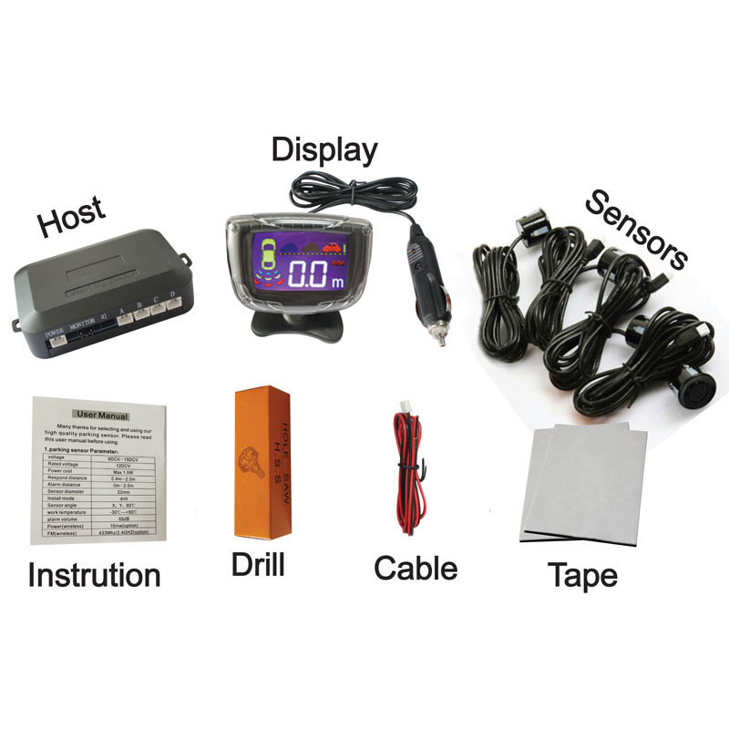 12V 4 Sensors LCD Wireless parking sensor Car Parking Assistance System 6 colors have stock PZ312