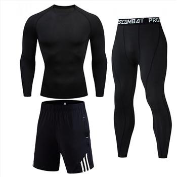 Męska odzież sportowa krótki Running Man rajstopy uciskowe pot dres Gym Man czarny T shirt sportowe spodnie S-XXXXL tanie i dobre opinie Day south valley O-neck Swetry Pasuje prawda na wymiar weź swój normalny rozmiar Poliester Lycra Elastan Sportswear