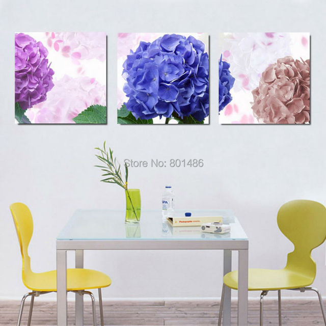 3 pieces Blue Purple Hydrangea flower wall art painting pictures print on canvas for Home and  sc 1 st  AliExpress.com & 3 pieces Blue Purple Hydrangea flower wall art painting pictures ...