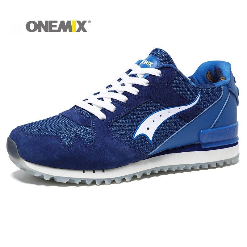 Onemix Новый Для мужчин Кроссовки из свиной кожи верха спортивная обувь для мальчика демпфирования свет Для мужчин ретро Кроссовки Обувь Бесп...