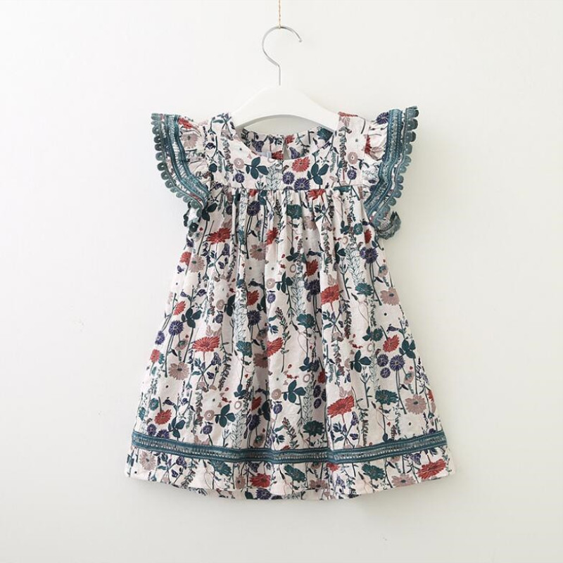 AJLONGER new fashion Infant Kid Girl dress floral printed Casual Dresses One-Piece Costume a-line