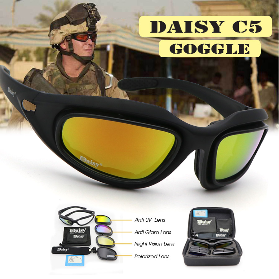a271d08980 Daisy C5 Polarized Army Goggles Military Sunglasses 4 Lens Kit Men s Desert  Storm War Game Tactical