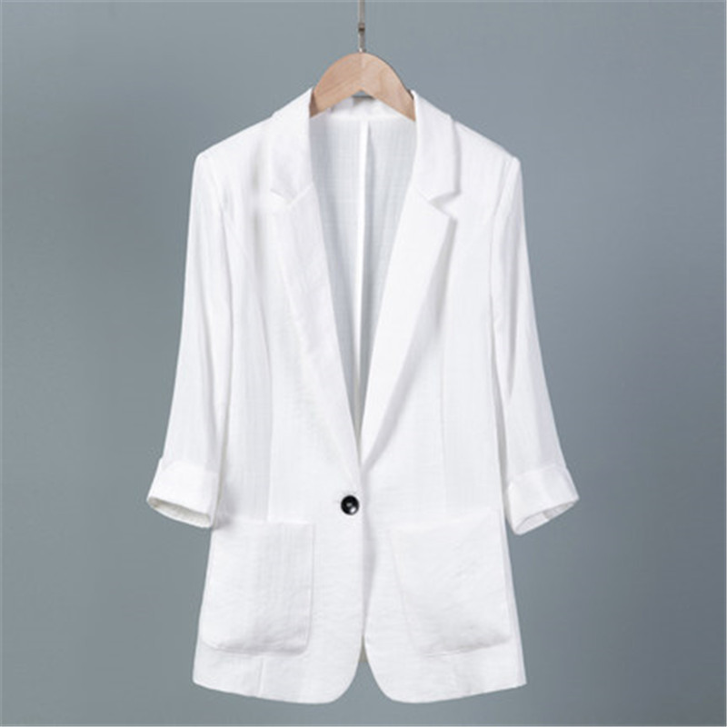 2019 New 5XL 6XL 7XL Seven-point Sleeve Suit Summer Women's Blazer Casual Large Size Korean White Black Thin Suit Jacket V577