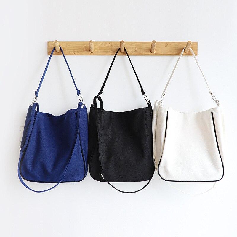 Mistura de Algodão Bolsa de Ombro Lona Cruz Corpo Cinta Compras Tote Preto Azul Branco Mxws Eco