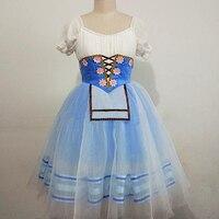 Charming Peasant Romantic Tutu Professional Ballet Long Tutu Blue Repertoire Variations Giselle Ballet Costume