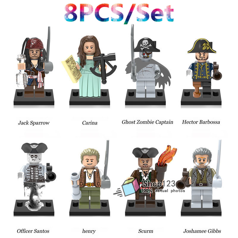 Blocks 8pcs/lot Legoing Pirates Of The Caribbean Jack Sparrow Ghost Zombie Captain Hector Barbossa Building Blocks Children Gift Toys