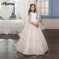 Butterfly Pink Flower Girl Dresses for Wedding Kids Evening Dress with Jacket First Communion Dresses For Girls Pageant Gowns