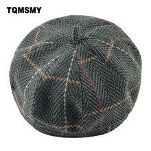 TQMSMY sombrero de las mujeres boinas de lana de punto gorro planas señoras boina  femenina invierno sombreros para hombres tapa . c76de6e394c