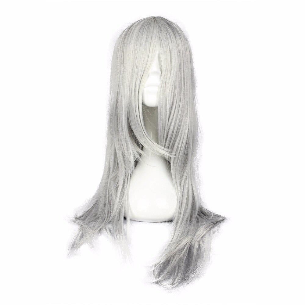 MCOSER Final Fantasy Synthetic Long Wavy Silvery Gray Color Cosplay Wig 100% High Temperature Fiber Hair
