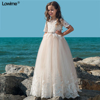 Lowime A-Line Scoop   Flower     Girl     Dresses   For Weddings Shorrt Sleeves Kids Prom Gowns First Communion   Dresses   Floor Length