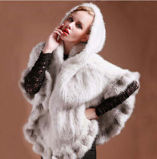 New 100% Real Knitted Mink Fur Shawls With Hooded Poncho Stole Cape Genuine Clothes Women Lady Natural Fashion Party Fur Coat