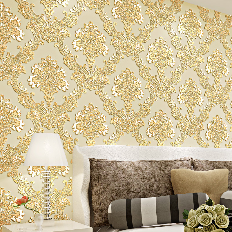 3D luxury damask wallpaper embossed textured decorating fabric ...