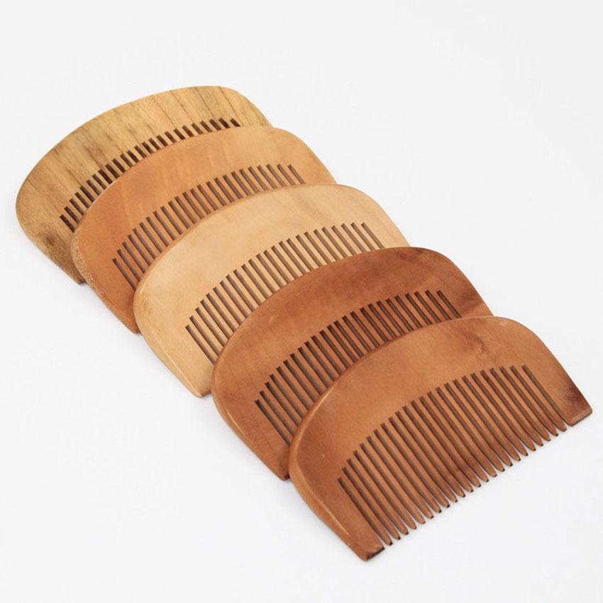 9cm Length Mini Portable Hair Combs Length Engraved Wood Natural Peach Comb Anti-Static Beard Comb