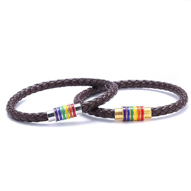 Itenice 2018 New Black Brown Genuine Braided Leather Bracelet Women Men Stainless Steel Gay Pride Rainbow Magnetic Bracelet Gift 1