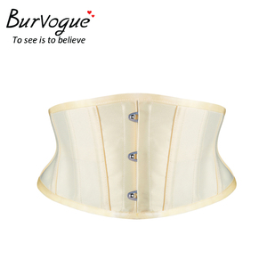 Image 3 - Burvogue מותניים מאמן מחוכי הרזיה Shaper חגורת טורסו הקצר סאטן Underbust מחוך סקסי תחרה עד Bustiers ומחוכי נשים