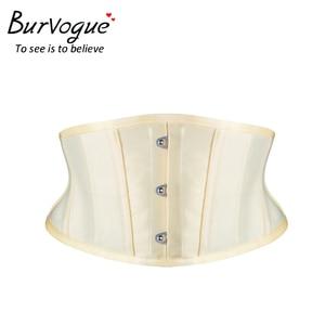 Image 3 - Burvogue espartilhos de treino, corselete modelador de emagrecimento, cinto curto, de cetim, amarrar, sensual