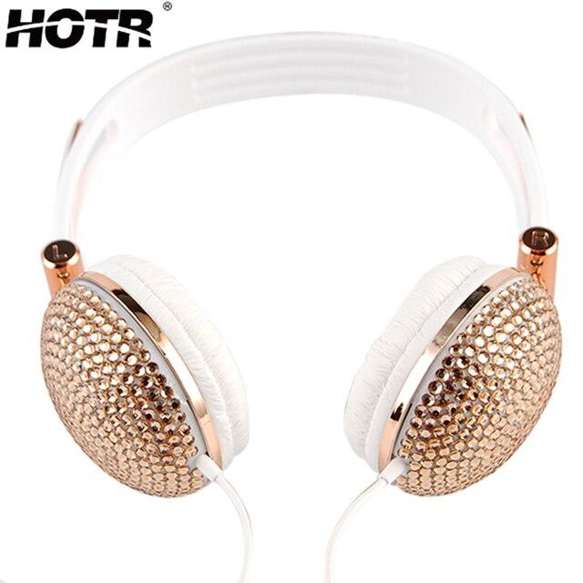 Projeto para as mulheres menina Rhineston Cabeça fone de Ouvido Música Moda Fones De Ouvido Anti-ruído com Artificial Brilhante para 3.5mm jack telefone