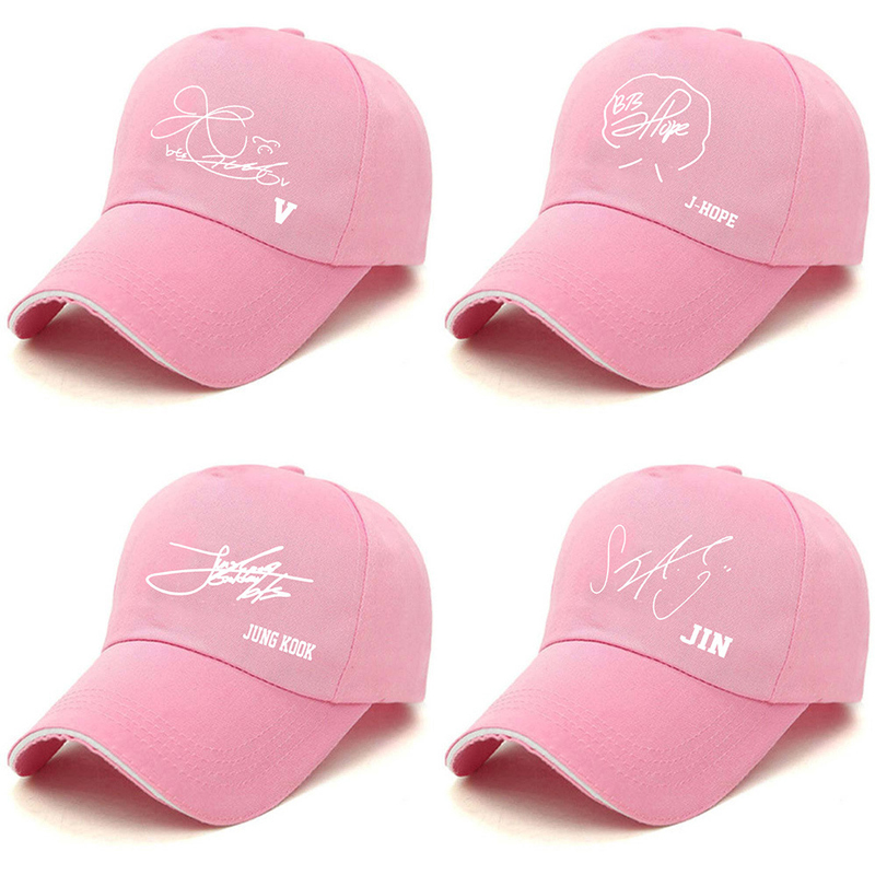 Kpop Pink Signature Hats Adjustable Hat Caps Snapback Fashion Baseball Korean Style For Dropshipping collares stradivarius