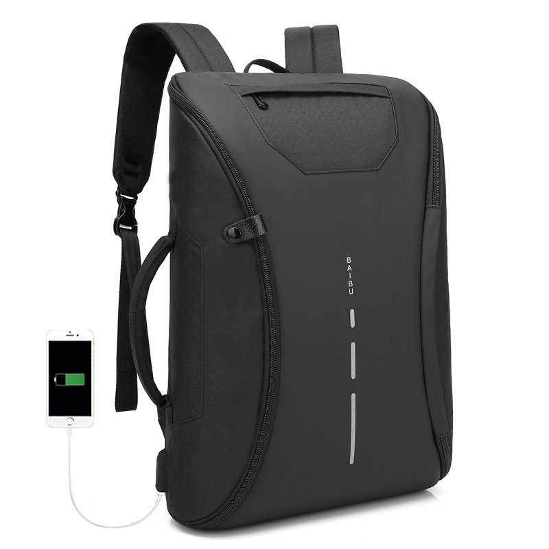 Black USB Charging Laptop Bag Waterproof Travel Backpacks Bookbag Men Backpack 15 6 Inch Bagpack Deployable