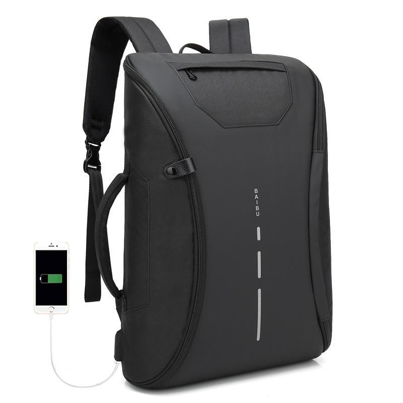 Black USB Charging Laptop Bag Waterproof Travel Backpacks Bookbag Men Backpack 15 6 Inch Bagpack Deployable