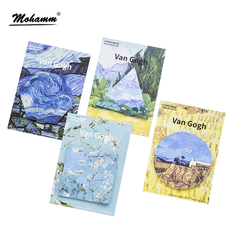 30 Sheets/lot Cute Van Gogh's Oil Painting Notebook Memo Pad Self-Adhesive Sticky Notes Office School Supplies Memo Pad