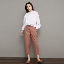 2019 summer new women's pants Korean version of the high waist was thin carrot pants loose tie nine pants BONJEAN grid carrot pants