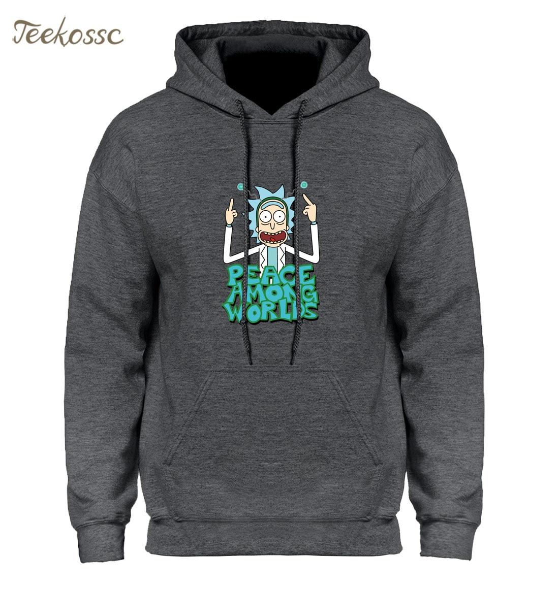 Rick And Morty Hoodie Men Peace Among Worlds Funny Hoodies Mens Fleece Warm Sweatshirts Male Cartoon White Hooded Sweatshirt