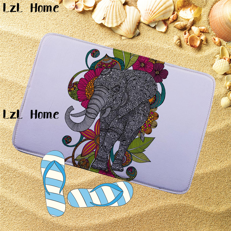 LzL Home Elephant Pattern Bathroom Mats Set Bath Mat Flannel Toilet Mat Non Slip Carpet  ...