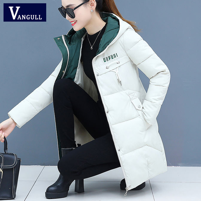 Vangull Winter Women   Parkas   Casual Long Sleeve Hooded Jackets 2019 Autumn Warm Letter Print Long Female Coats Zipper Outerwear